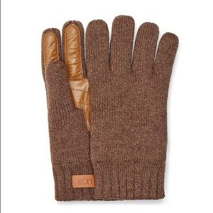 NWT Ugg Men's Palm Patch Leather & Knit Gloves